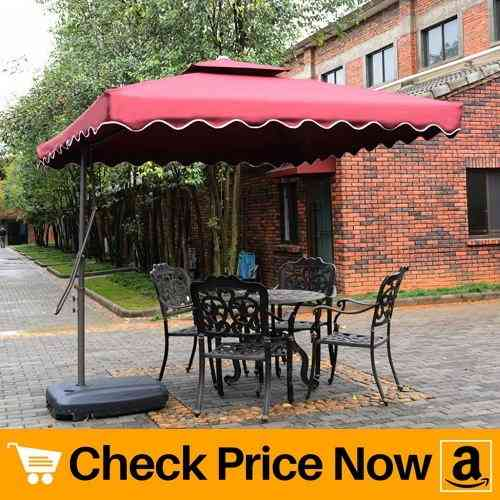 Tylor's Garden 8-12 Ft Cantilever Market Outdoor Patio Umbrella Hanging Umbrella