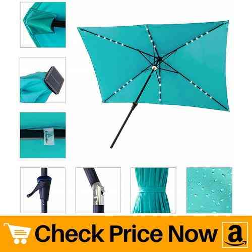 C-Hopetree Solar Power LED Light Outdoor Patio Market Umbrella 6'6 x 10' Rectangular with Crank Winder, Push Button Tilt, Aqua Blue