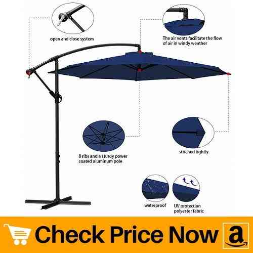 Masvis Offset Umbrella Cantilever Patio Umbrella 10 ft Outdoor Market Hanging Umbrellas & Crank With Cross Base And Cover, 8 Ribs (Navy Blue)