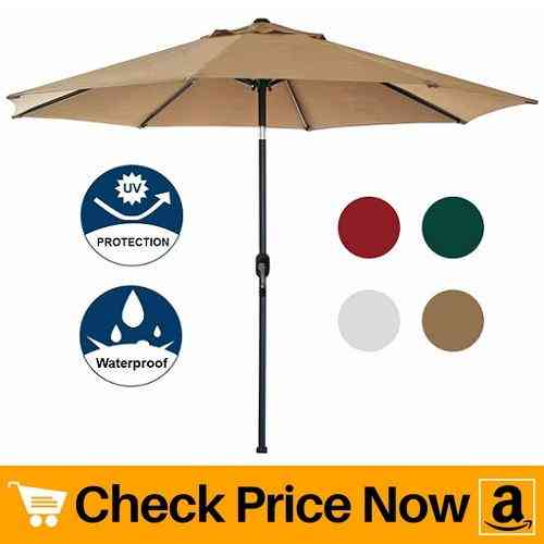 Blissun 9' Patio Umbrella with Push Button Tilt