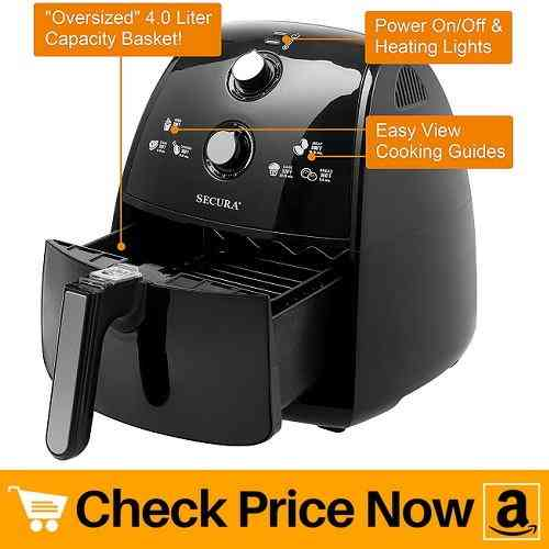 Secura 4 Liter, 4.2 Qt, Extra Large Capacity 1500 Watt Electric Hot Air Fryer
