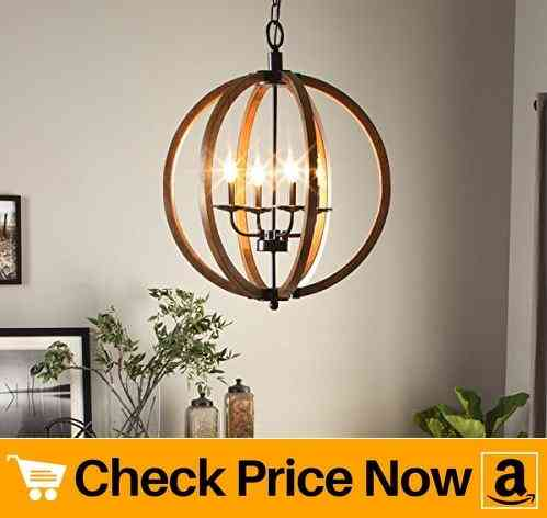 Vineyard Contemporary Metal And Wood Frame Orb Chandelier