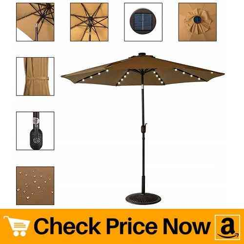Sundale Outdoor Solar Powered 32 LED Lighted Patio Umbrella