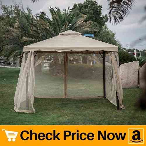 Kinbor 10'x 10' Outdoor Gazebo Patio Pergola With Mosquito Netting