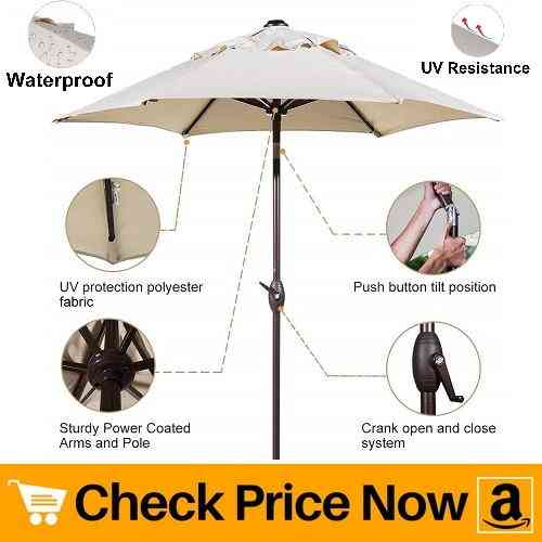 Abba Patio 7-12 ft. Round Outdoor Market Patio Umbrella