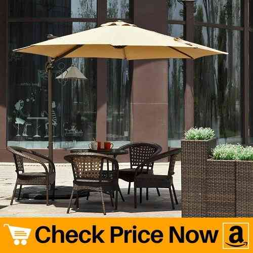 Le Papillon 10 ft Cantilever Umbrella Outdoor Offset Patio Umbrella Easy