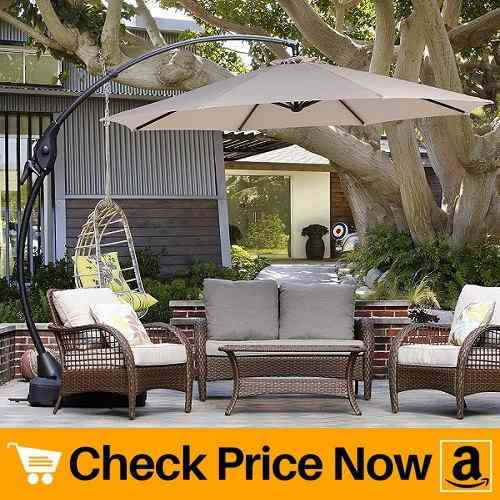 Grand patio Deluxe 10 FT Curvy Aluminum Offset Patio Umbrella