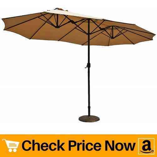 Le Papillon 14 ft Market Outdoor Umbrella Double-Sided Aluminum Table Patio Umbrella