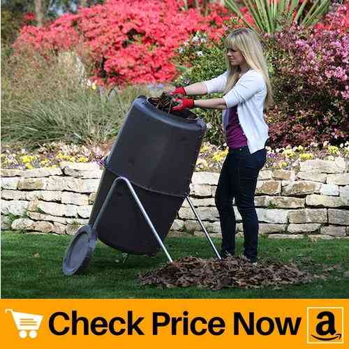 Spin Bin Composter 60 gal. Large Capacity Black Barrel Style Tumbler Compost