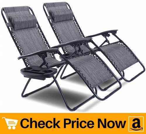 Goplus Zero Gravity Chair Set 2 Pack Adjustable Folding Lounge Recliners for Patio Outdoor Yard