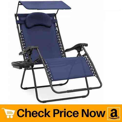 Best Choice Products Oversized Zero Gravity Reclining Lounge Patio Chairs wFolding Canopy