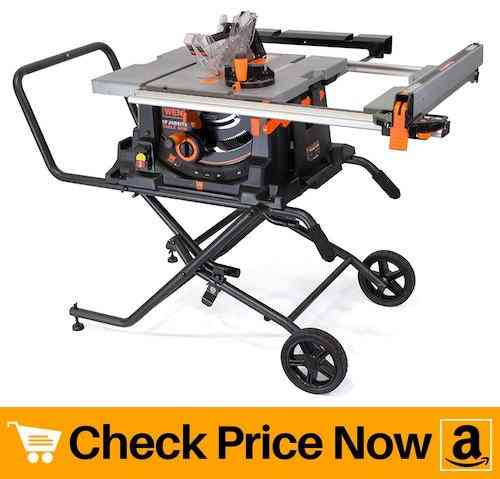 WEN 3720 15A Jobsite Table Saw with Rolling Stand