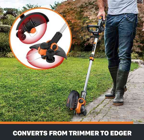 Grass Trimmer Converts To Lawn Edger