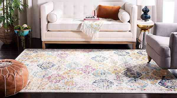 Safavieh Madison Collection MAD611B Cream and Multicolored Bohemian Chic Distressed Area Rug 9 x 12