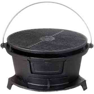 Cajun Classic Round Seasoned Cast Iron Charcoal Hibachi Grill