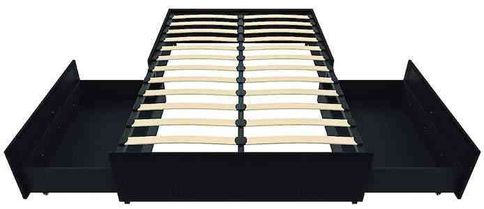 DHP Maven Platform Bed with Upholstered Faux Leather and Wooden Slat Support and Under Bed Storage, Full Size
