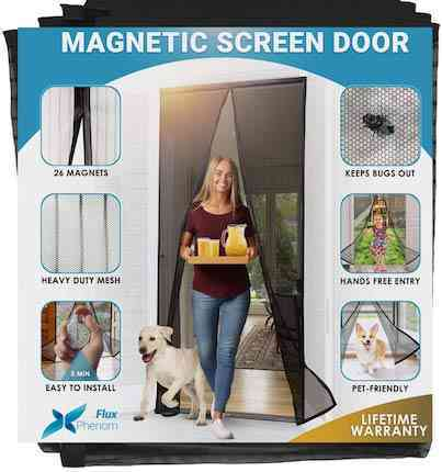 Flux Phenom Reinforced Magnetic Screen Door, Fits Doors