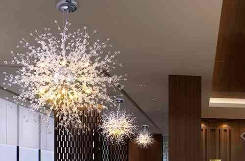 GDNS Chandeliers Firework LED Light Stainless Steel Crystal Pendant Lighting