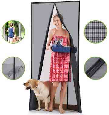 Homitt [Upgraded Version] Magnetic Screen Door with Durable Fiberglass Mesh Curtain and Full Frame Hook & Loop Fits Door Size up to 36x82 Max- Black
