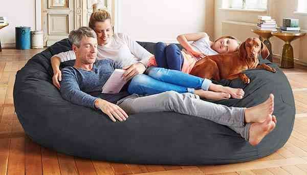 Lumaland Luxury 7-Foot Bean Bag Chair with Microsuede Cover Black Machine Washable Big Size Sofa and Giant Lounger Furniture for Adults