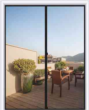 MAGZO Magnetic Screen Door 72 x 80, Fiberglass French Door Mesh Curtain with Heavy Duty Fits Door Size up to 72x80 Max-Grey