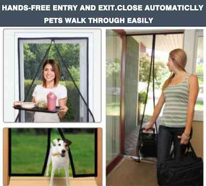 Magnetic Screen Door Fiberglass Mesh Screen Door with Magnets, Fly Mosquitos Bug Insect Screen for Sliding Glass Door French Door Patio Door, Full Frame Hook & Loop, Hands Free, Pet Friendly (34x82)