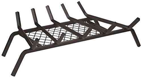 Rocky Mountain Goods Fireplace Grate with Ember Retainer - 1:2 Heavy Duty Cast Iron -Heat Treated for Hottest Fires - Retainer for Cleaner More efficient