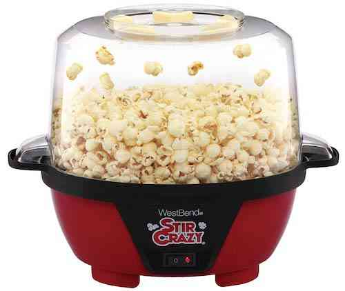 West Bend 82505 Stir Crazy Electric Hot Oil Popcorn Popper Machine with Stirring Rod Offers Large Lid for Serving Bowl and Convenient Storage, 6-Quart
