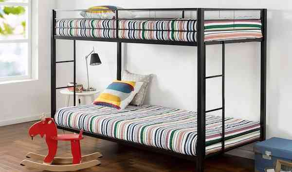 Zinus Aileene Easy Assembly Quick Lock Twin over Twin Classic Metal Bunk Bed with Dual Ladders