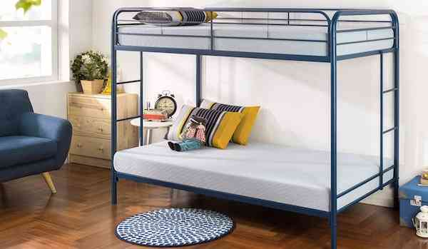 Zinus Easy Assembly Quick Lock Metal Bunk Bed Dual Ladders Twin Over Twin