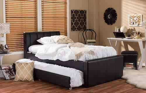 Baxton Studio BBT6469-Twin-Black Cosmo Modern and Contemporary Faux Leather Trundle Bed
