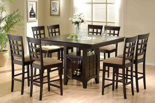 Coaster Home Furnishings 9 Piece Counter Height Storage Dining Table w-Lazy Susan & Chair Set