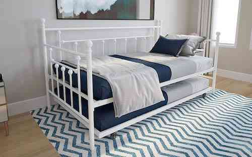 DHP Manila Metal Daybed and Trundle, Twin Size Daybed and Trundle, Multifunctional, White