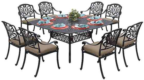 Darlee Elisabeth Cast Aluminum 9-Piece Dining Set with Seat Cushions and 64-Inch Square Dining Table