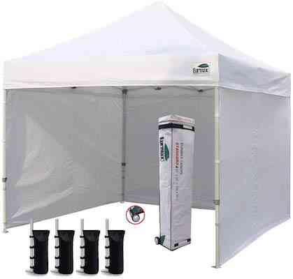 Eurmax 10'x10' Ez Pop Tent Commercial Instant Canopies with 4 Removable Zipper End Side Walls