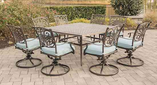 Hanover TRAD9PCSWSQ8-BLU 9 Piece Traditions Square Dining Set with 8 Swivel Chairs