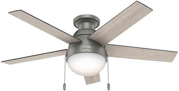 Hunter Anslee Low Profile Matte Silver Ceiling Fan with Light