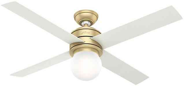 Hunter Modern Brass Ceiling Fan With Light With Wall Control