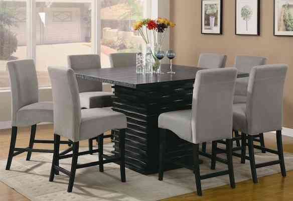 Stanton Contemporary 9pc Counter Height Dining Set Gray Microfiber Rich Black Finish