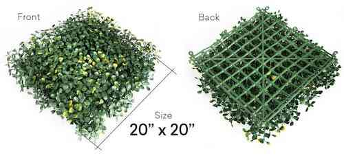 UltraHedge Artificial Two-Toned Small Boxwood Hedge for Indoor and Outdoor Fence Privacy Screen and Greenery Wall Backdrop Decor for Events | 20 x 20 Inches Panels | 12 Pack
