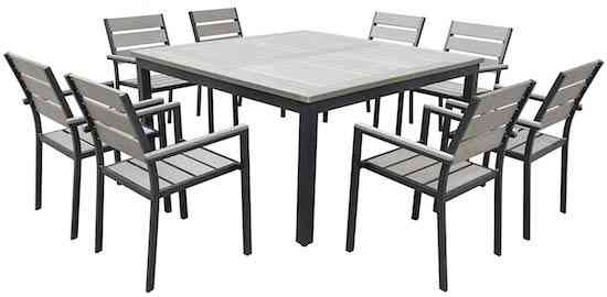 Urban Furnishing- 9 Piece Eco-Wood Square Table Outdoor Patio Dining Set
