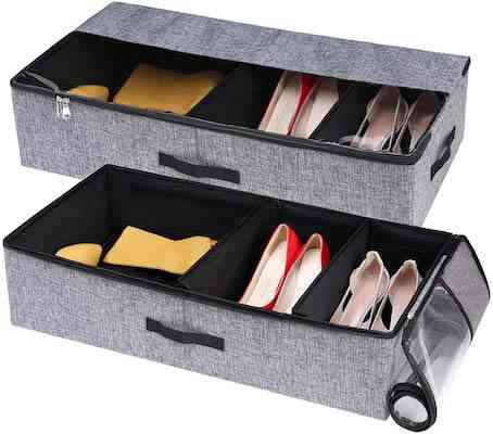 VEAMOR Under Bed Shoe Storage Boxes