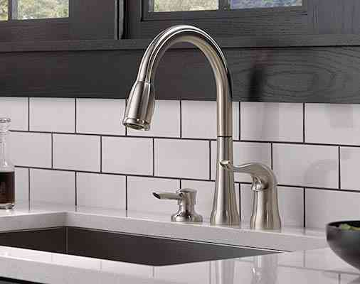 Delta Faucet Kate Single-Handle Kitchen Sink Faucet with Pull Down Sprayer, Soap Dispenser
