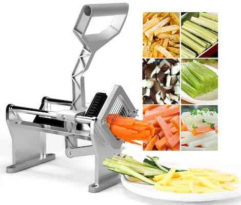 Goplus French Fry Cutter Fruit Vegetable Potato Slicer Commercial Grade W: 4 Different Size Stainless Steel Blades 1-4, 1-2, 3-8 and a Round Blade
