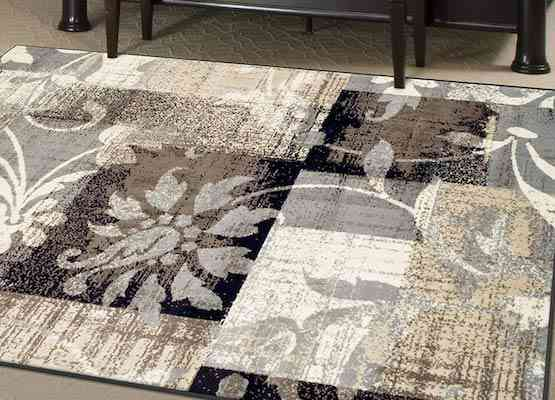 Superior Designer Pastiche Area Rug, Distressed Geometric Floral Patchwork Pattern, 5' x 8', Chocolate