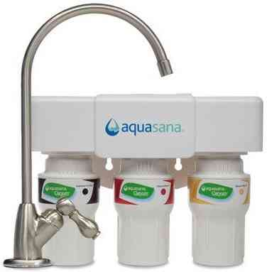 Aquasana 3-Stage Under Counter Water Filter System with Brushed Nickel Faucet