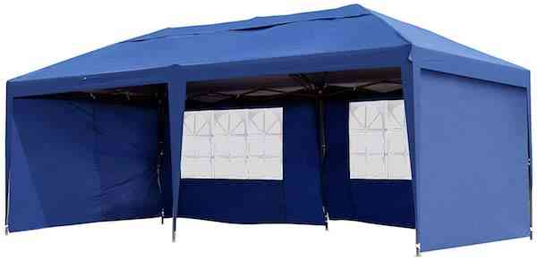 Outsunny 10' x 20' Easy Pop Up Canopy Party Tent with 4 Removable Sidewalls - Navy