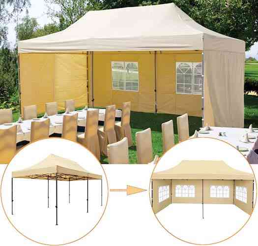 SNAIL 10'x20' Ez Pop-up Canopy Tent Portable Commercial Instant Party Tent with 4 Removable Walls and Roller Bag, Beige