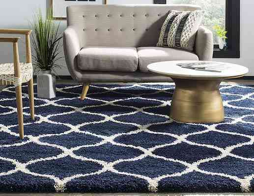 Safavieh Hudson Shag Collection SGH280C Navy and Ivory Moroccan Ogee Plush Area Rug (8' x 10')