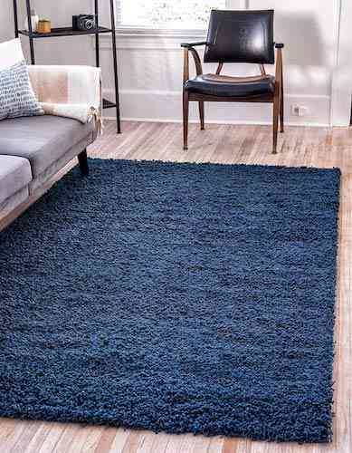 Unique Loom Solo Solid Shag Collection Modern Plush Navy Blue Area Rug (8' 0 x 10' 0)
